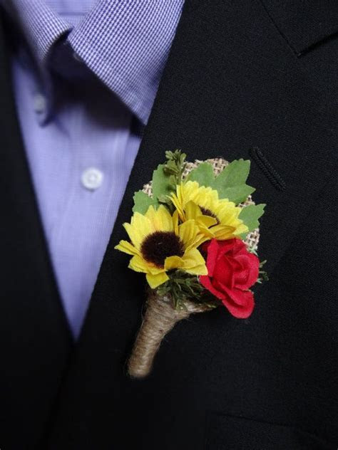 Wedding Boutonniere (Boutineer)   Rustic Sunflower with