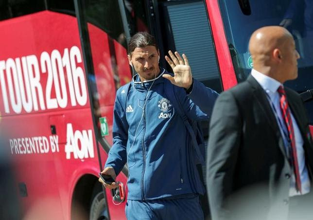Football Soccer - Manchester United v Galatasaray - Pre Season Friendly - Manchester United's striker Zlatan Ibrahimovic exits the team's bus in front of a hotel in Goteborg, Sweden, July 30, 2016. TT News Agency/Bjorn Larsson Rosvall/via REUTERS