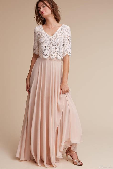 Discount Hot Sale Lace And Chiffon 1/2 Long Sleeve A Line