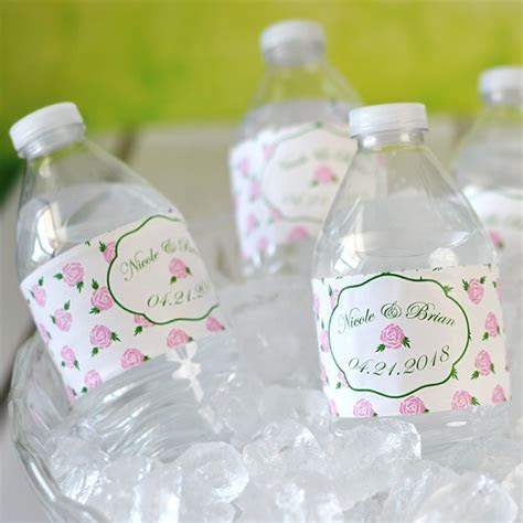 Water Bottle Labels   Vintage Roses Personalized