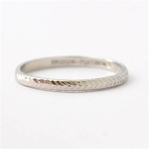 Platinum Art Deco Wedding Band: Antique Wedding Rings