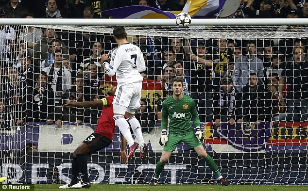 Poised: Ronaldo scored against United at the Bernabeu ahead of the second leg in Manchester next week