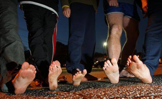 Members of a barefoot running club in Woburn toed the line when they took a jaunt around the neighborhood last October.