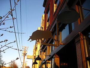Sign and exterior of Toro Bravo, a Spanish (ta...