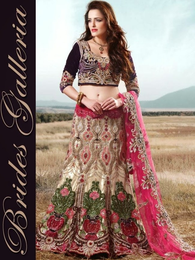 Indian-Bridal-Wedding-Lehangas-Velvet-Embroidered-Blouse-Fish-Cut-Lehenga-by-Brides-Galleria-6