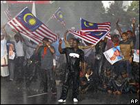Ethnic Indians protesting in Kuala Lumpur, 25/11
