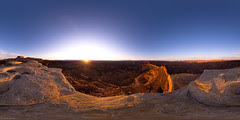 Dawn at the tip of White Crack at Canyonlands National Park