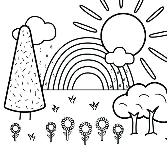 Coloring Pages For Kids Nature Drawing With Crayons