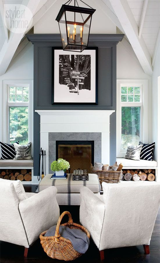 Dark fireplace column with white mantel