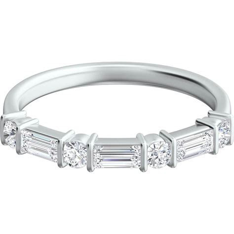 Platinum 1/2 Ctw Baguette And Round Diamond Wedding Band