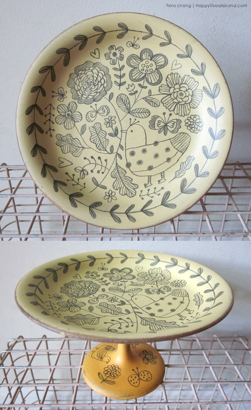 Birds and Flowers Footed Plate