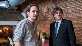 Puigdemont i Pablo Iglesias el 2016 (EFE)