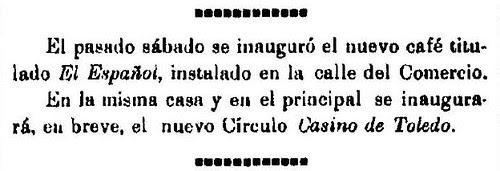 Noticia de la inauguración del café Español de Toledo en El Castellano 27-2-1909