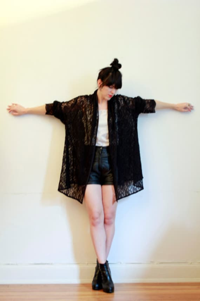Vintage Lace black GYPSY Draped Sleeve Dress Jacket 80s.