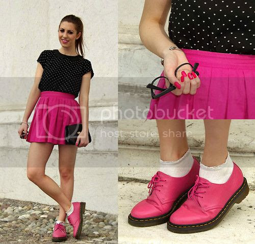 How to style dr. Martens - Dr. Martens 1461 Raspberry - Fuchsia Skater Skirt Firmoo Nerd Glasses H&M Collar Top How to wear shoes with socks