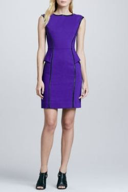 Milly Pipe-Trim Peplum Dress