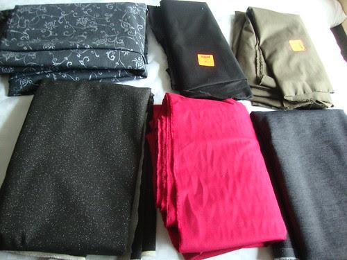 Fabric Haul:  Top row Mood; bottom row TrueMart