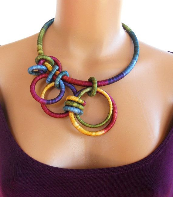 @: Asymmetrical Textile Statement Necklace