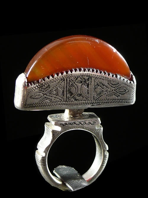 Africa | A silver and agate ring from the Tuareg people of Niger | ca. 1970