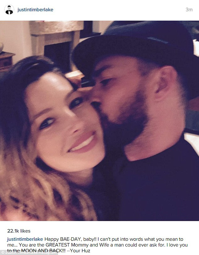 That's dedication: Jessica Biel received a sweet message on her 34th birthday on Thursday from doting husband Justin Timberlake