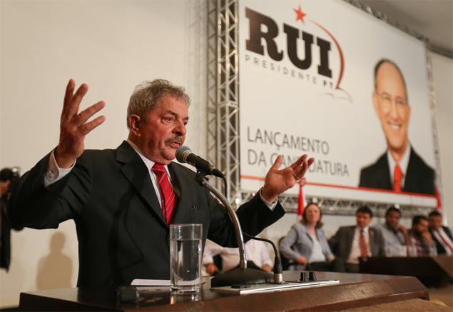 Ex-presidente Lula participa do lançamento em Brasília da campanha de Rui Falcão à presidência do PT