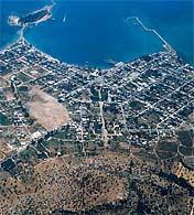 English: aerial view of the city of Eretria (E...