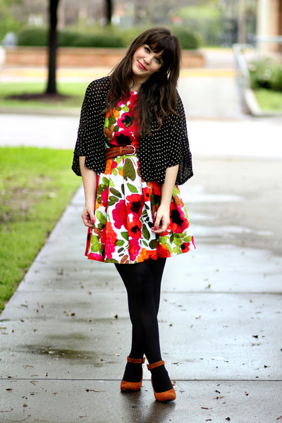 white modcloth dress - black Target tights - black Forever 21 top