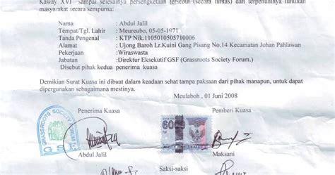 contoh surat kuasa tanah informasi terbaru