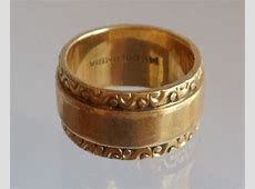 Vintage 14K Yellow Gold Ornate Band Ring Size 5 Columbia Band