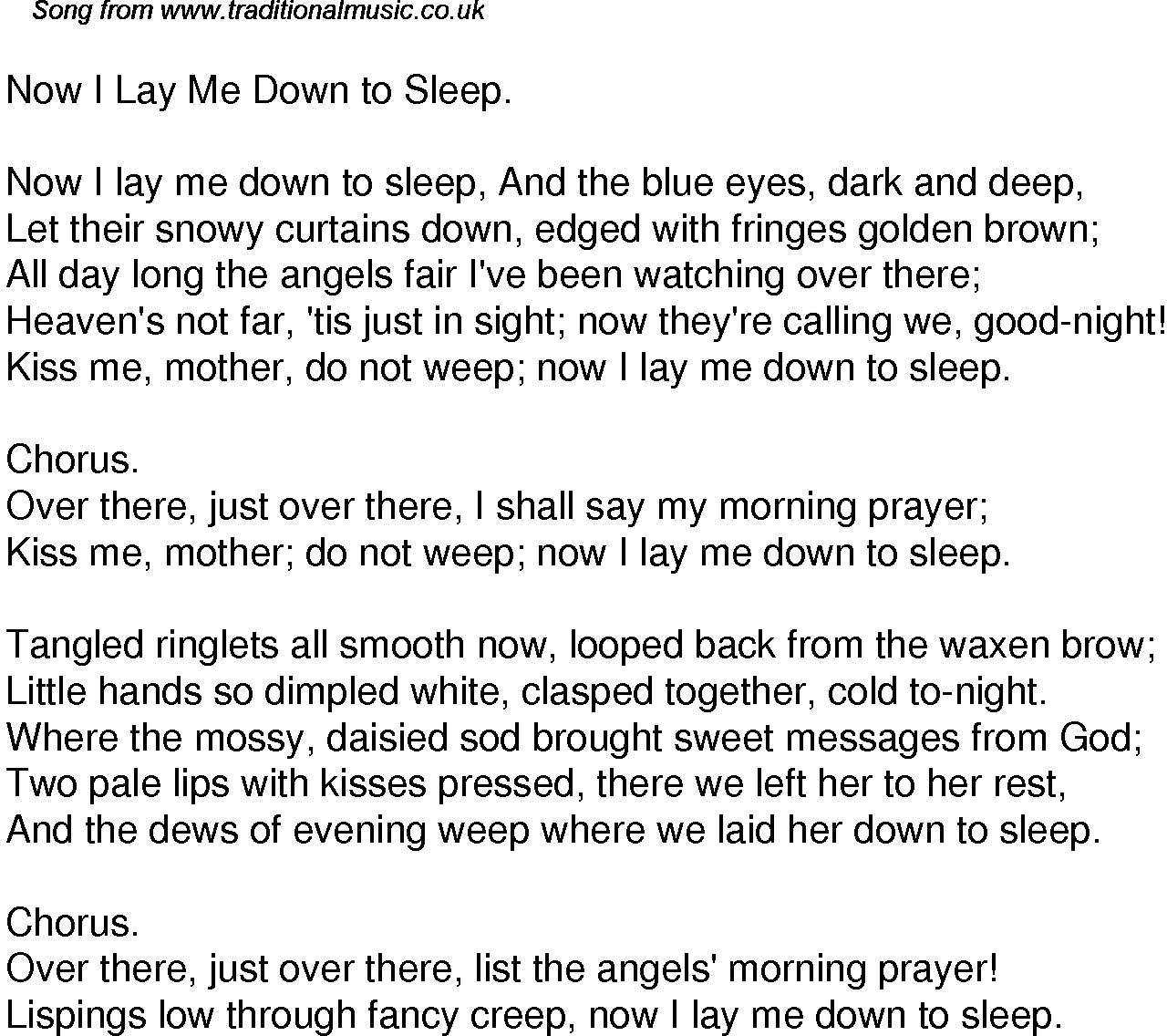 Old Time Song Lyrics For 35 Now I Lay Me Down To Sleep