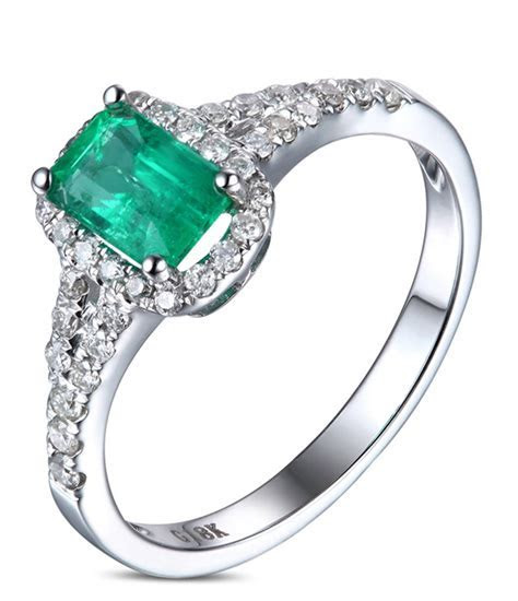 1.50 Carat Emerald and Diamond Halo Engagement Ring in