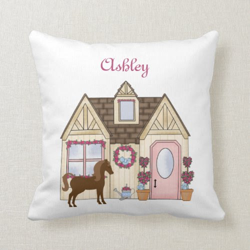 Personalized Pretty Ponies House Horse Pillow