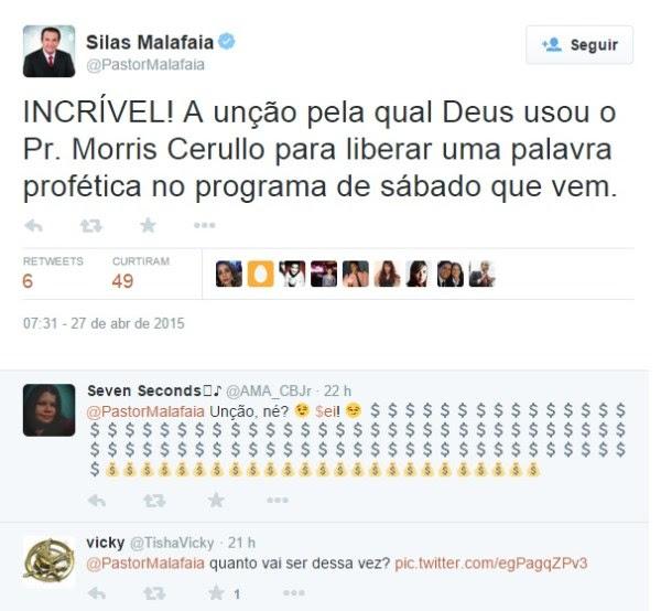 Críticas de internautas ao anúncio da parceria com Cerullo