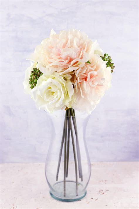 Blush & White Peonies, Sedum, Silk Peony & Rose Bouquet