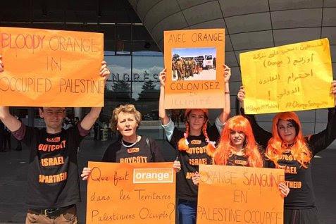 Orange protesters in France.