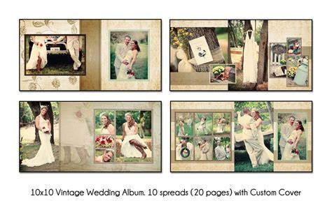 "VINTAGE   10x10"" Album Template 10 spread(20 page) Design"