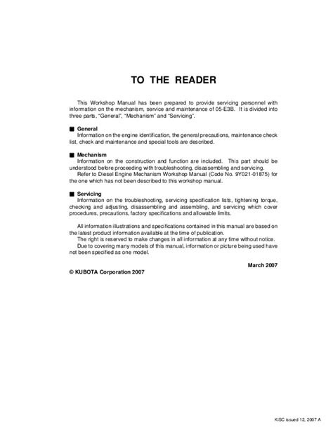 KUBOTA D1005-E3BG DIESEL ENGINE Service Repair Manual