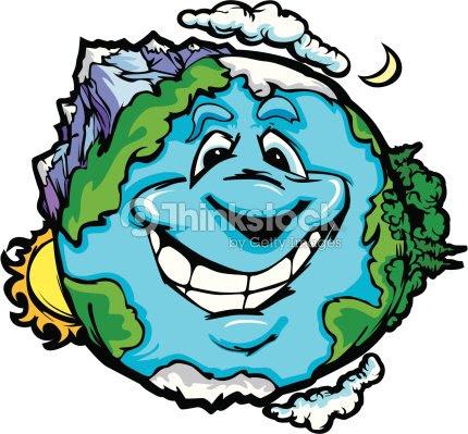 Feliz Planeta Tierra Con Las Montañas De Vector De Dibujos Animados