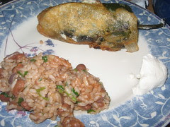 chile relleño, rice and beans, chèvre