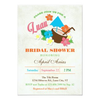 "Hawaiian Hibiscus Luau Bridal Shower Invitation 5"" X 7"" Invitation Card"