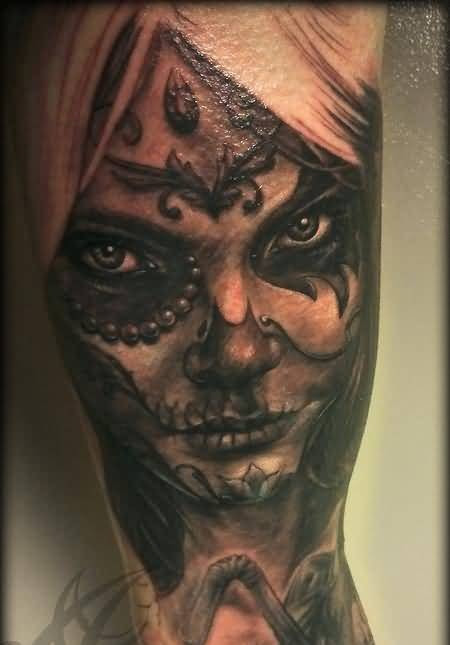 Dangerous Angry Scary Dia De Los Muertos Face Tattoo Design Made By