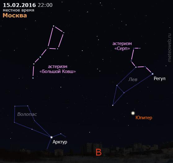 Юпитер на вечернем небе Москвы 15 февраля 2016 г.