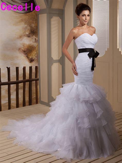 2017 Black And White Mermaid Wedding Dresses Bridal Gowns