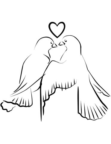Dibujo De Pajaros Del Amor Para Colorear Dibujos Para Colorear