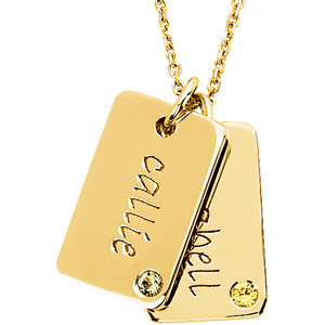Swank Mini Dog Tag Charm with Birthstones