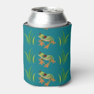 Tree Frogs on Can Cooler