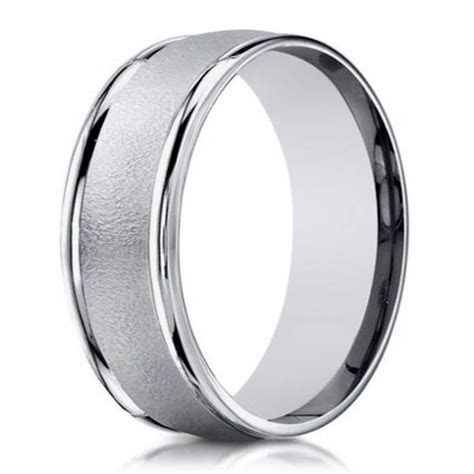 Designer white gold wedding ring for men  6mm width