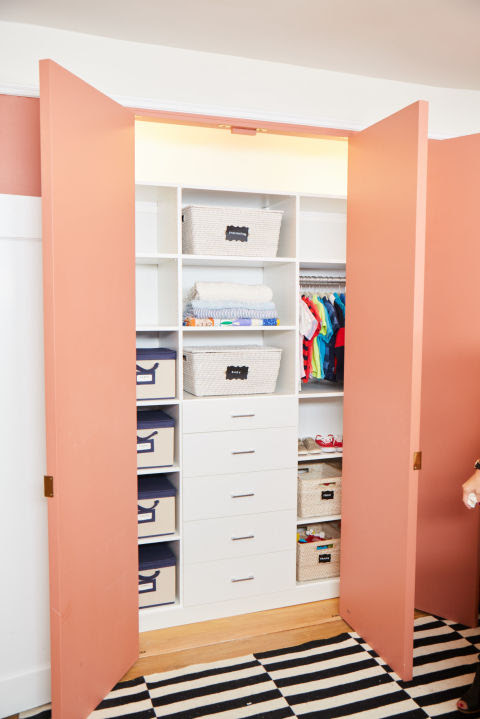 "Two pros from NEAT Method, Ashley Murphy and Marissa Hagmeyer, worked with Donelson and Musher to tackle storage in the new closet. ""We started by taking out and categorizing every item in the entire room,"" Murphy said. ""This helped us understand what Sophie and her son already had, then strategize for what products would keep everything organized."""
