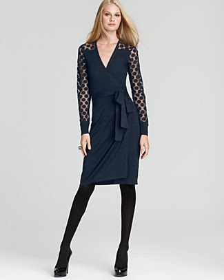 Diane von Furstenberg Linda Lace Polka Dot Wrap Dress