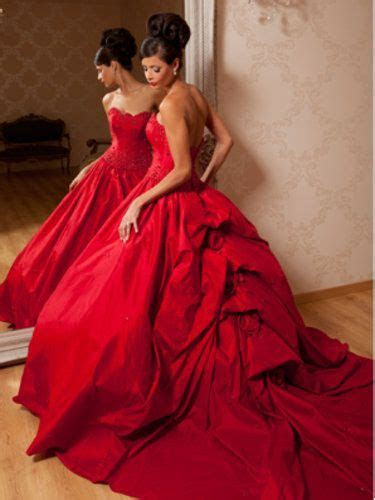 beautiful red gone with the wind style wedding dress   My
